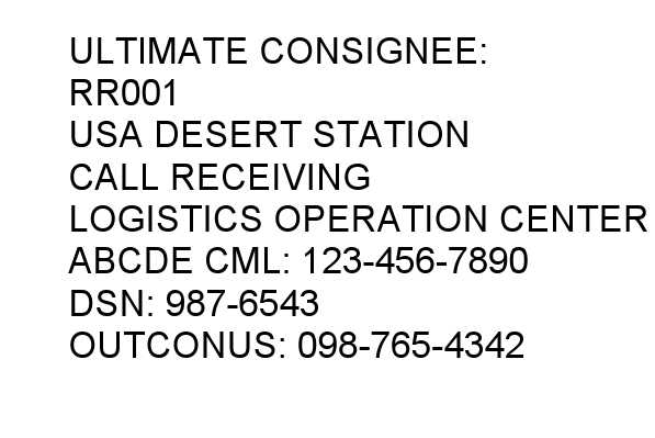 Ultimate Consignee label